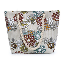 large beach canvas prints NZ - Large Capacity Women Shopping Bag Floral Printed Canvas Tote Female Casual Beach Bags Daily Use Canvas Handbags dropshipping