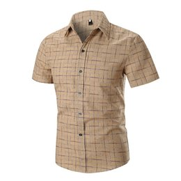 5ea57772 Short Man Wear Australia - Plaids Blouse Short Sleeve Business Man Casual  Shirt Turn-down