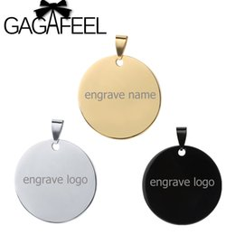 name plate engraving Australia - round pendant GAGAFEEL 3 Colors Personalized Engraved Name Stainless Steel Round Pendant Necklaces ID Tag Necklace Lover's Jewelry Best Gift