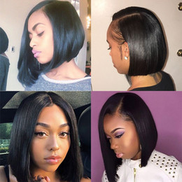 $enCountryForm.capitalKeyWord Australia - Lace Front Human Hair Wigs For Black Women Pre Plucked Brazilian Remy Hair Straight Short Bob Wigs With Baby Hair