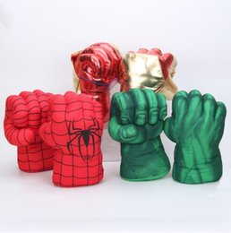 Wholesale Children Spider Hulk Boxing Gloves Hulk Smash Hands Spider Man Plush Gloves Performing Props costumes Figure Toys Sports Gloves GGA1838