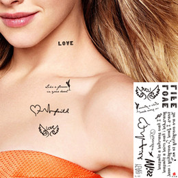 Body Art Face Paint Canada - Fake Black Tattoos Sticker Words Love Designs Temporary Body Art Painting Waterproof Tattoos Party 2019 New Gift Neck Hands Arms Back TL-157