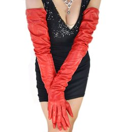 "$enCountryForm.capitalKeyWord Australia - women 80cm(31.5"") long plain super long real sheep leather opera red gloves"