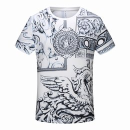 $enCountryForm.capitalKeyWord UK - 2019 New Mens Cotton Short Sleeve T-Shirt Tee 3D Print Painted Human Head Eagle Pattern Summer No Ironing Shirt