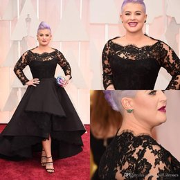 $enCountryForm.capitalKeyWord Australia - 2019 Oscar Kelly Osbourne Celebrity Dresses Long Sleeved Lace Scallop Black High Low Red Carpet Sheer Evening Dresses Prom Ball Gowns HY221
