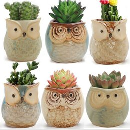 ceramics owl Australia - Cartoon Owl Pots 2.5 Inch Flowing Glaze Succulent Pots Owl Planter Mini Ceramic Pots Small Flower Plant Cactus Bonsai Container With Hole