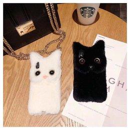 Discount iphone plush phones - Cute White 3D Cat Plush Fur Phone Case For iphone X 6 7 8 Plus Cartoon Soft Interior Accessories PPA93