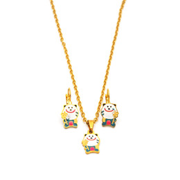 StainleSS Steel bear jewelry wholeSale online shopping - Cute Bear Women Girls Jewelry Set Stainless Steel Animal Pendant Necklace Earring set For Women Girls PE05201