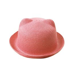 $enCountryForm.capitalKeyWord Australia - 2019 Fashion Sun Hats Summer Lovely Cat Ear Sun Hat Summer Hats Children Kids Girls Boys Straw Caps Fashion Beach