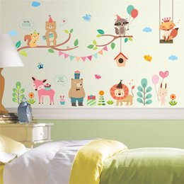 Christmas Window Stickers For Shops Australia - Forest Jungle Wild Zoo Animals Wall Sticker New Year Christmas Balloon Decoration Wall Decal Mural Shop Store Window Home Decor