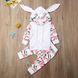 girls yellow sweatshirt Canada - Classic 2pcs Cotton Clothes Set Autumn Flower Printing Baby Kids Girls Breathable Hooded Long Sleeve Hooded Sweatshirt Trousers