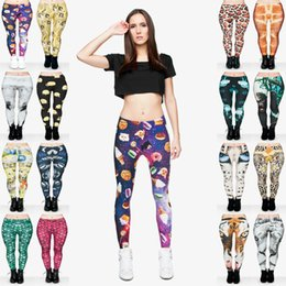 Space Wolfs NZ - Lady Leggings Mix 16 Styles Baby Giraffe Jellyfish Space Sweets Meerkat Wolf Tree Trunks Elephant Garden Butterfly 3D Printed Pants (Y011)