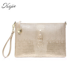 crocodile grain handbags 2019 - Kajie 2019 Genuine Leather Crocodile Grain Chain Women's Women Envelope Day Clutch Evening Bag Female Clutches Shou