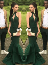 $enCountryForm.capitalKeyWord NZ - Beautiful Green Prom Dress 2014 Halter Keyhole Neck Long Elegant Formal Stretchy Evening Party Gowns Amazing Slim Mermaid Prom Dresses 2019