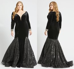 $enCountryForm.capitalKeyWord UK - Sexy Black Velvet Mermaid Evening Special Occasion Prom Dresses Plus size V neck Long Sleeves Bling Sequins Lace Zipper Back Pageant Dress