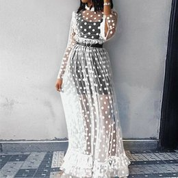 see through mesh dresses 2019 - New Fashion Women Ladies Boho See-through Long Sleeve Dresses Polka Dot Mesh Lace Tulle Evening Party Maxi Dress Black W