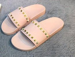 flat gold studs NZ - New Arrival Mens and Womens Fashion Causal Designer Sandals with Pearl Effect and Gold Toned Studs Designer Flip Flops