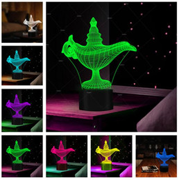 Discount table lamps bedroom - 3D Aladdin and the Magic lamp Led Night Light Atmosphere Illusion Table Mood Bedroom Livingroom Cafe Bar Mall Lighting C