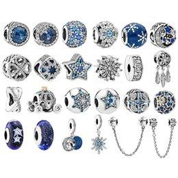 Großhandel 925 Sterling Silber Perlen Sea Blue Zirkon Sterne Fit Original Pandora Charm Armband Halskette Silber 925 Weihnachten Perlen Modeschmuck