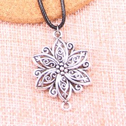 $enCountryForm.capitalKeyWord Australia - New Durable Black Faux Leather Antique Silver 39*28mm flower connector Pendant Leather Chain Necklace Vintage Jewelry Dropshipping
