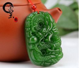 $enCountryForm.capitalKeyWord Australia - Natural Green Hand-carved Chinese Hetian Jade Dragon Pendant Rope Necklace Wholesale