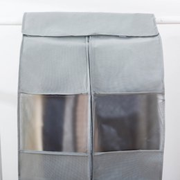 canvas shoe bags wholesale NZ - Big Size Clothing Dust Cover Storage Bag Hanging Clothes Bag Protective Cover(Gray) Kitchen Storage Organization
