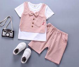 European Clothes Brands Australia - Wholesale Pure cotton Newborn Baby Boy Clothes Korean Brand Short Sleeved T-shirt Tops + Middle Pants Outfits Kid Bebes Jogging Suits
