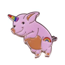 $enCountryForm.capitalKeyWord UK - Unicorn pig badge rainbow piggie brooch cute cartoon accessory magical kids girls gift