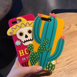 Iphone 3d Skull NZ - Mexico Style 3D Cactus Skull Flowers soft Silicone Case Cover for iPhone 6 6 Plus 7 8 Plus Silicone Rubber Case for iPhone X