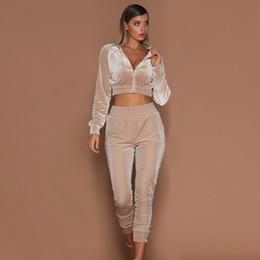 Wholesale woman lounge pants resale online – Women pieces Set Tracksuit Autumn Sweatshirt Pants Hoodies Sets Sport Wear Tracksuit Velvet Lounge Suit