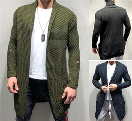 knitted hole cardigan Canada - Hole Fashion Style Homme Clothing Mens Autumn Designer Sweaters Long Sleeve Solid Color Cardigan Crew Neck