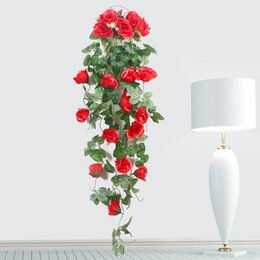 hanging decorative vines UK - Fake flower rattan simulation rose vine home wall hanging flower decorative artificial flower