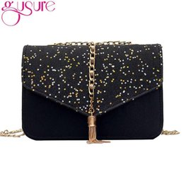 Crochet Handbags Wholesale Australia - Gusure Women Messenger Bag PU Leather Female Tassel Shoulder Bag Luxury Cute Design Women Handbag Fashion Sequined Star Bags