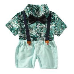 3d35ed4c6 Infant Baby Boys Gentleman Tops T-shirt Suspenders Strap Shorts Set Outfits  Vetement Enfant Garcon Kid Clothes Roupa Infantil