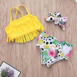 $enCountryForm.capitalKeyWord Australia - Newborn Infant Three-piece Swimsuit Solid Tassels Sling Swimwear Baby Girl Flower Dinosaur Printed Bow Bikini Sets Baby Beach Bathing Suits