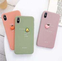 Peach iPhone online shopping - Cute D fruit Orange peach Avocado macaron silicon Pink phone case for iphone X XR XS P MAX plus