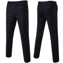 asian trousers UK - 2019 Slim Fit Summer Thin Casual Business Men Formal Suit Pants Wedding Bridegroom Plus Size Solid Color Asian Size Trousers