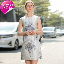 round skirt dress Australia - Super Quality Lady Quality Temperament Nail Pearl Jacquard Weave Dress 2020 Ladies Round Neck Sleeveless Loose Vest Skirt