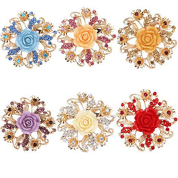 eastern star pins UK - Fashion Resin Rose Flower Brooch Pin Birthday Gift Rhinestone Wedding Bridal Brooch 6 colors 10pcs free shipping
