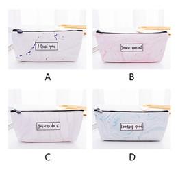 $enCountryForm.capitalKeyWord NZ - Pencil Cases Marble Print Gift School Pencil Bag Students Waterproof PU Stationery For Girl Boys Kawaii Storage Pouch Zipper