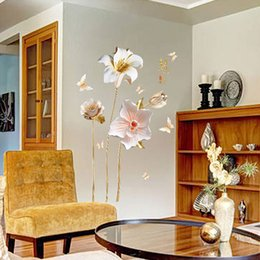 Resin adhesive stickeRs online shopping - Creative D Emboss Style Orchids Flowers Wall Stickers for Living Room Home Decoration Art Decals Bedroom Girls Room Sticker PVC