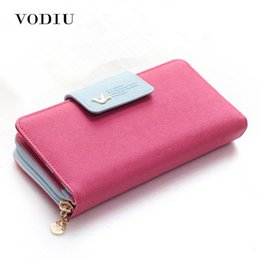 slimmest phones NZ - Large Capacity Women Long Slim Wallet Female Coin Purse Leather Zipper Clutch Lady Handbag Phone Card Photo Holder Wristlet