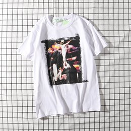 fea313b37 19ss rock t-shirt men hip hop OFF brand White famous graffiti mens shirt  fashion trend men tee 19 new hot summer loose T shirts free
