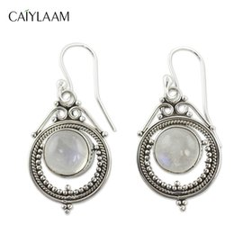 China CAIYLAAM Vintage Ethnic Bohemia Drop Earrings for Women Mumbai Moonstone Tibetan Silver Earring Fashion Jewelry Boho Accessories cheap accessories moonstone suppliers