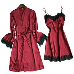 $enCountryForm.capitalKeyWord Australia - Women Satin Sleepwear 2 Pieces Pyjamas Sexy Lace Pajamas Sleep Lounge Fashion Night Home Clothing Pajama Suit@50