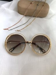 Chain sunglasses online shopping - Fashion spiral pattern round retro frame new popular S designer sunglasses light color protection decorative top quality with chain