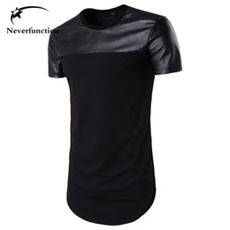 $enCountryForm.capitalKeyWord Australia - Summer Men Curved Hem Casual T-shirt Men Pu Leather Stitching Street Swag Hip Hop Cotton Extended Tee Short Sleeves Men Tshirt Y190509