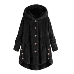 $enCountryForm.capitalKeyWord NZ - Fashion Women Button Coat Fluffy Tail Tops Hooded Pullover Loose Sweater chaqueta mujer talla grande womens jackets