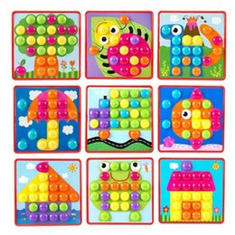 colorful puzzles Australia - Kids 3d Colorful Buttons Assembling Mushrooms Nails Kit Baby Mosaic Composite Picture Puzzles Board Educational Toy