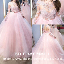 bd42364a03 Pink Fairy Puffy Long Sleeve Prom Formal Dresses 2019 Elegant Sheer Jewel  Neck Plus Size Lace-up Gothic Evening Quinceanera Party Gowns